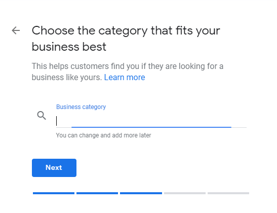 Choose Business category