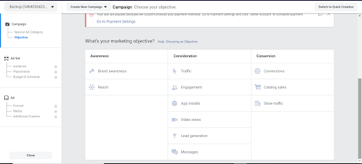Image of Facebook Ads manager page